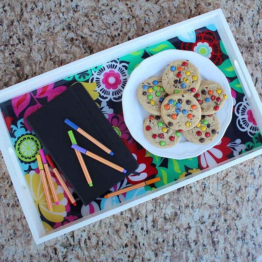 DIY fabric resin serving tray