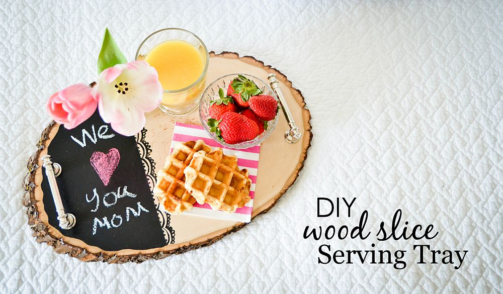 DIY wood slice serving tray is a great gift