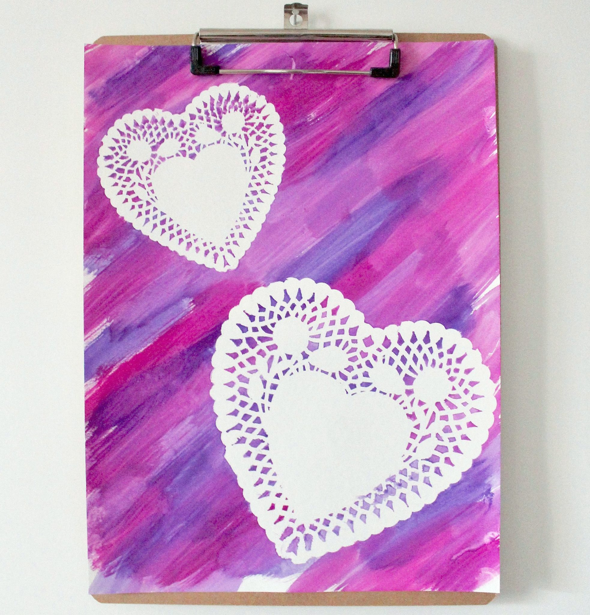 Doily Heart Painting with Purple Panache