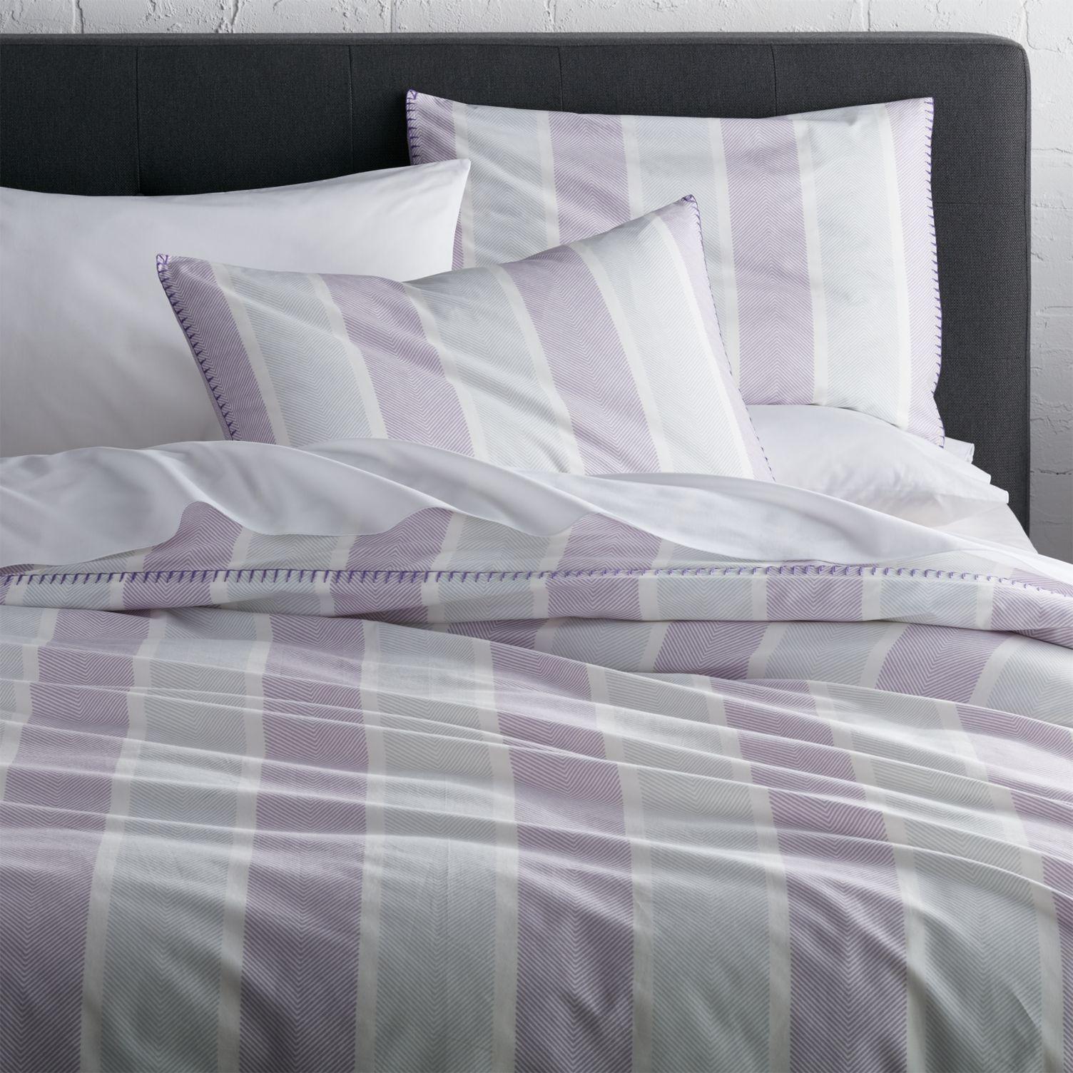 Duvet cover with lavender stripes