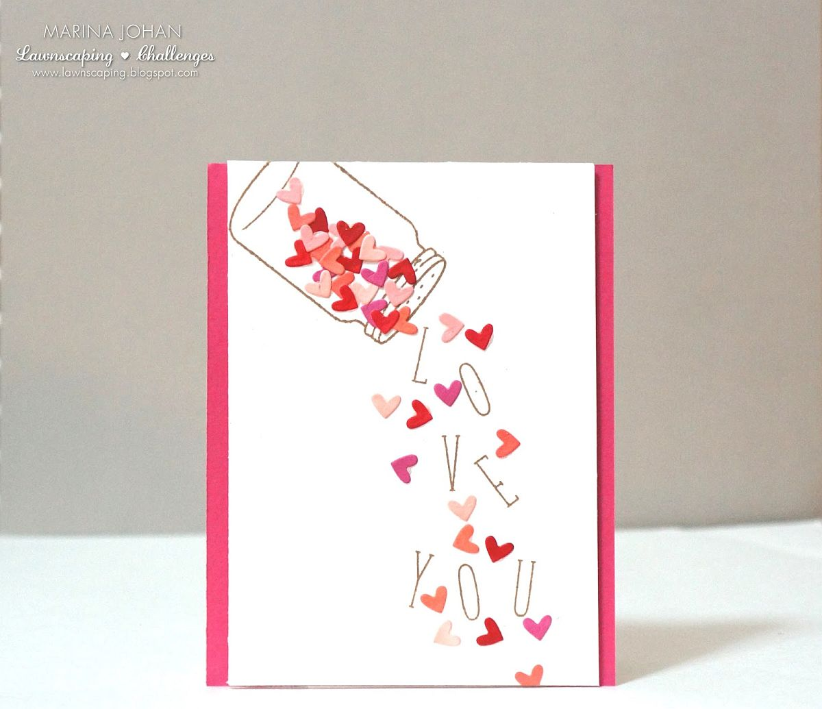 Falling Die Cut Hearts Valentine's Day Cards