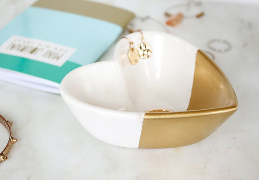 Gold dipped heart dish tutorial