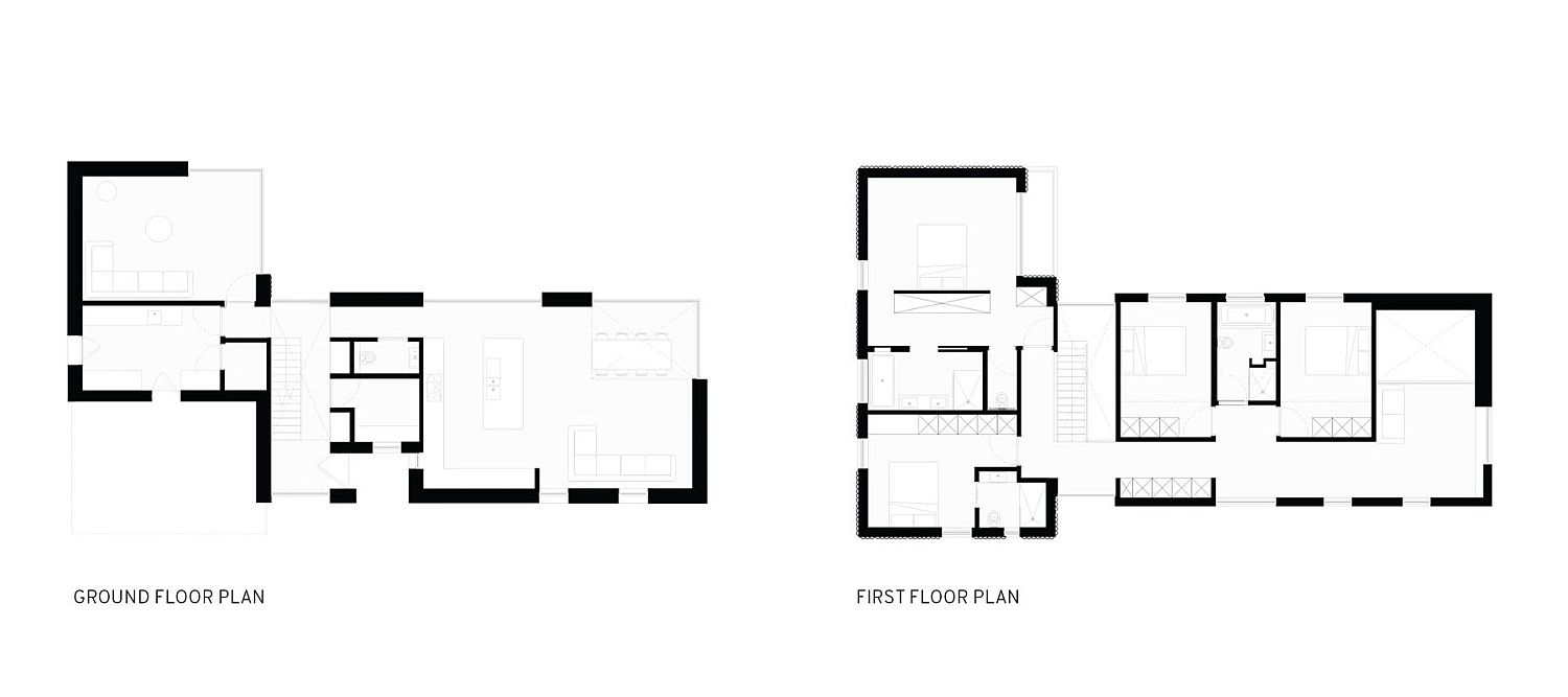 Ground and first floor plans of contemporary home in St Peter Port, Guernsey