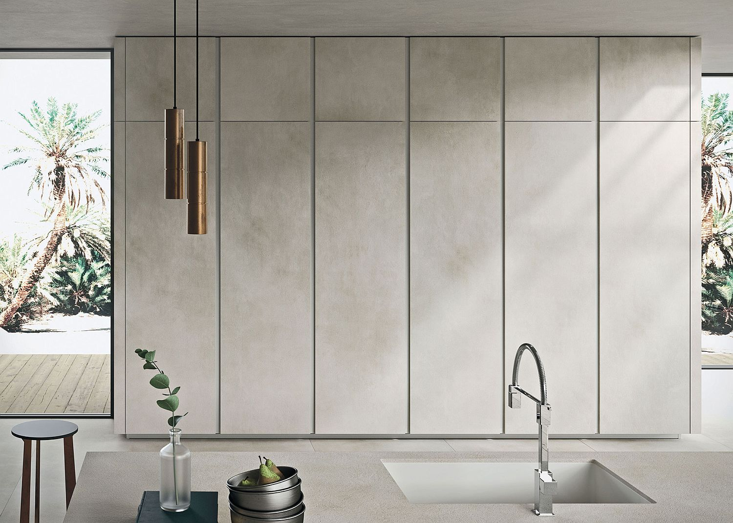 Handle-less and minimal floor-to-ceiling cabinets for the contemporary kitchen
