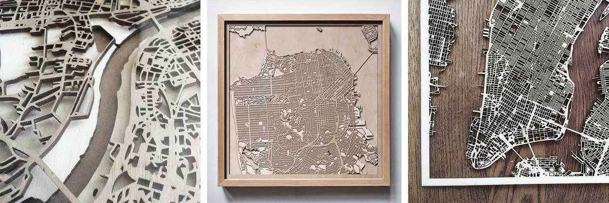 Intricate and precise details of each city are replicated into the art pieces