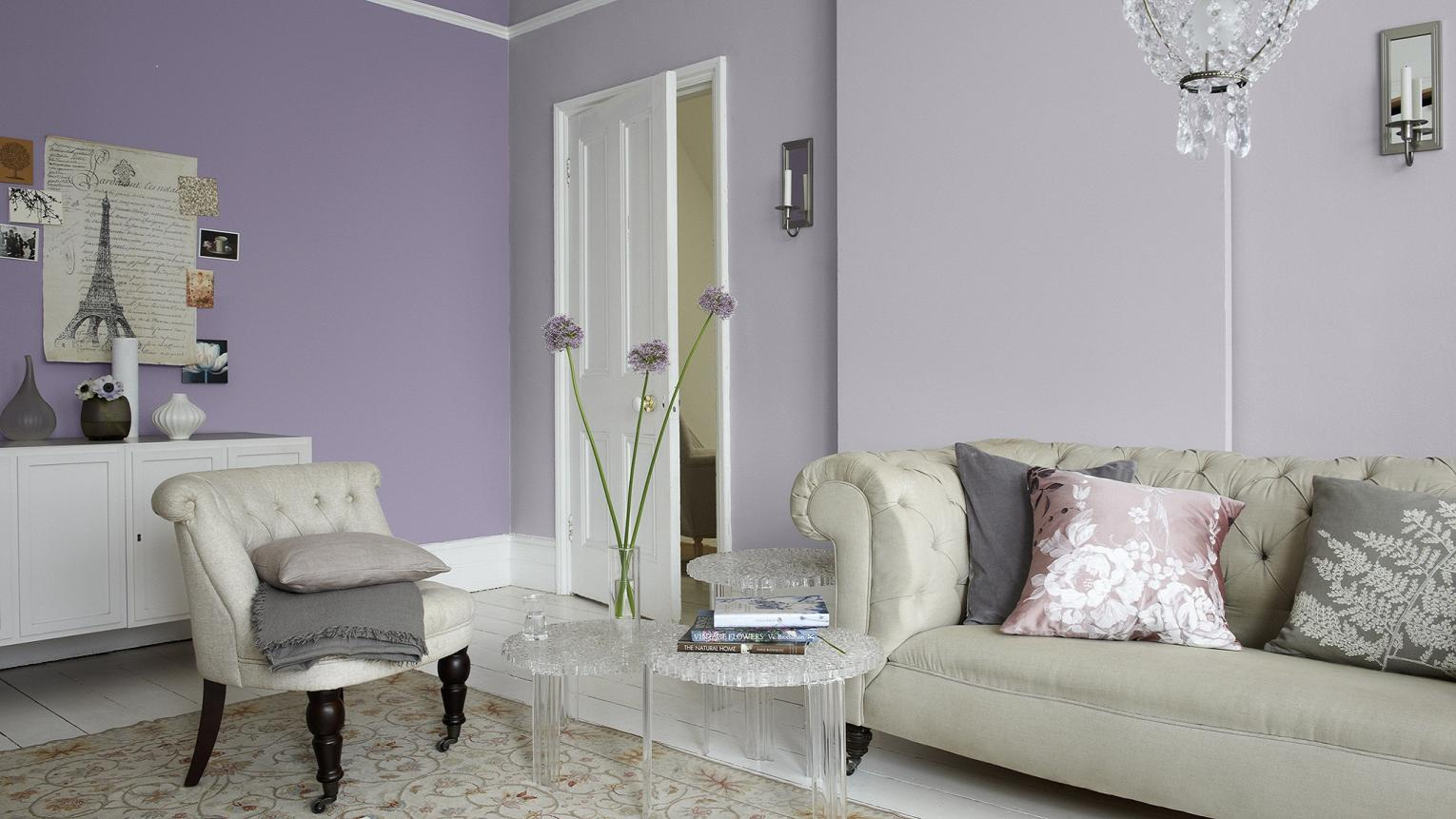 Lavender living room with glamorous flair