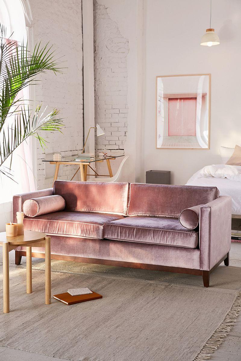 Lavender velvet sofa