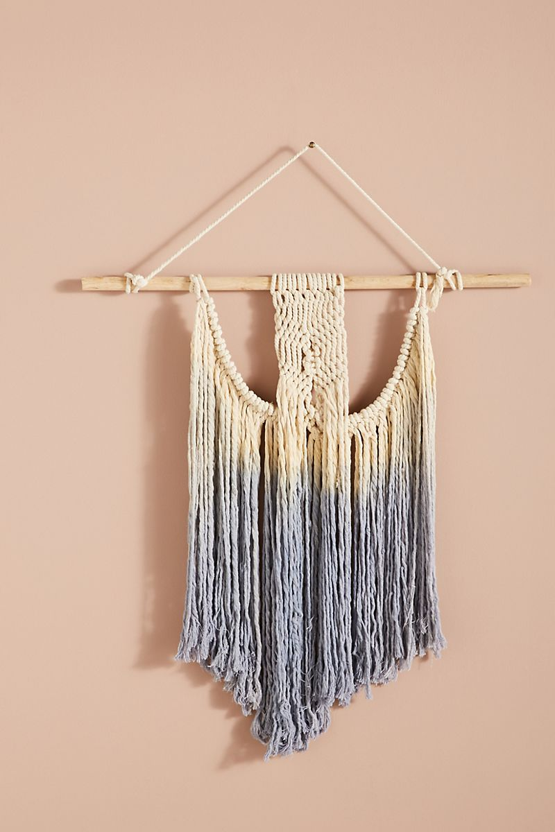 Macrame wall hanging with lavender accents