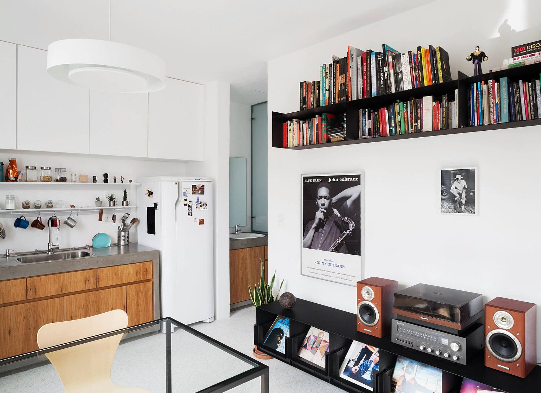 Metallic black bookshelf and entertainment unit in the living room