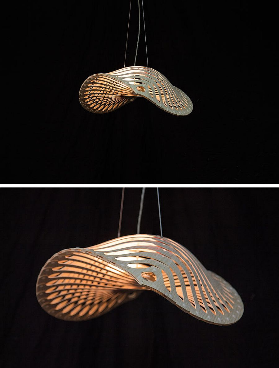 Modern bamboo and plywood pendants designed by David Trubridge