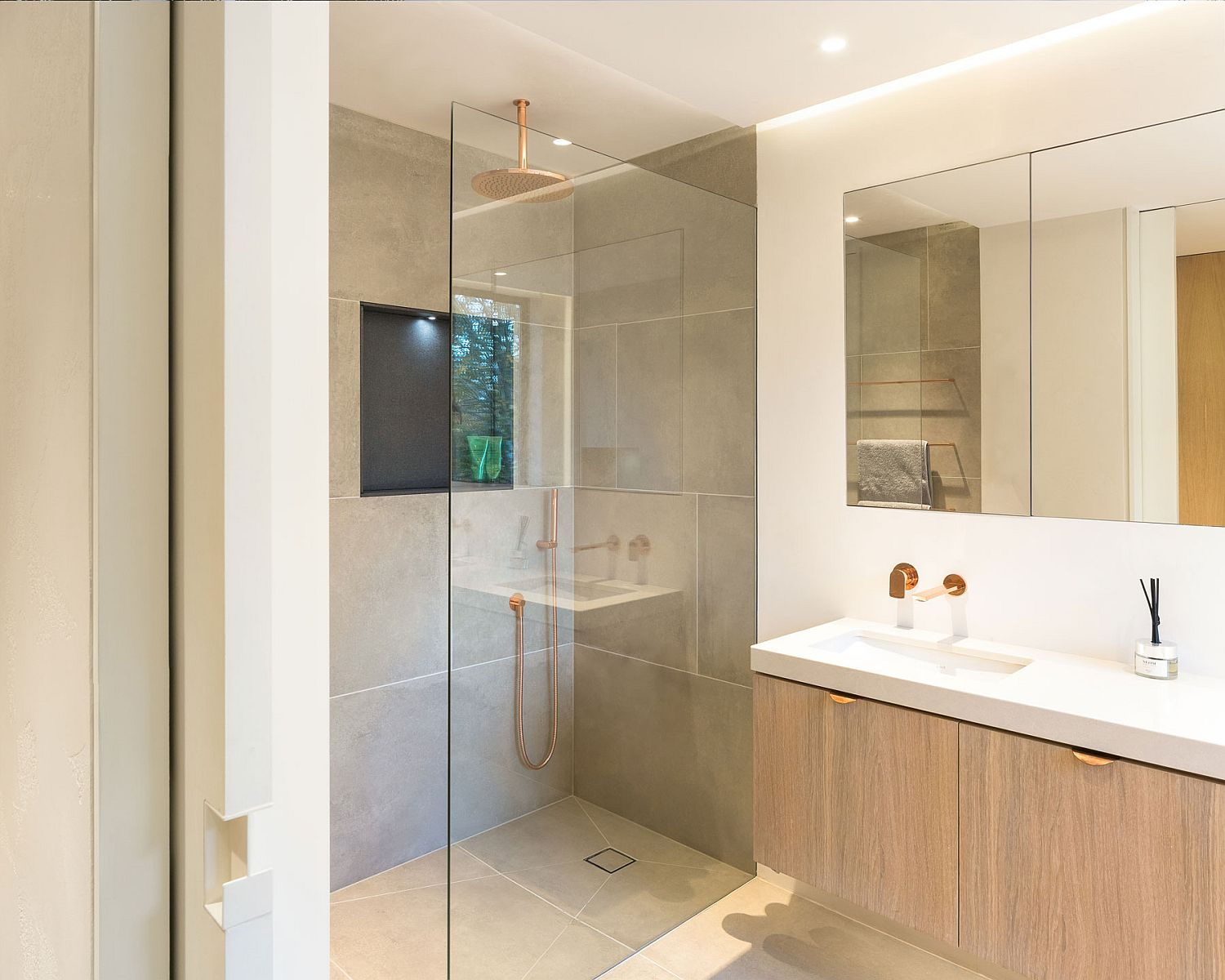 Modern bathroom of the home with neurral color palette