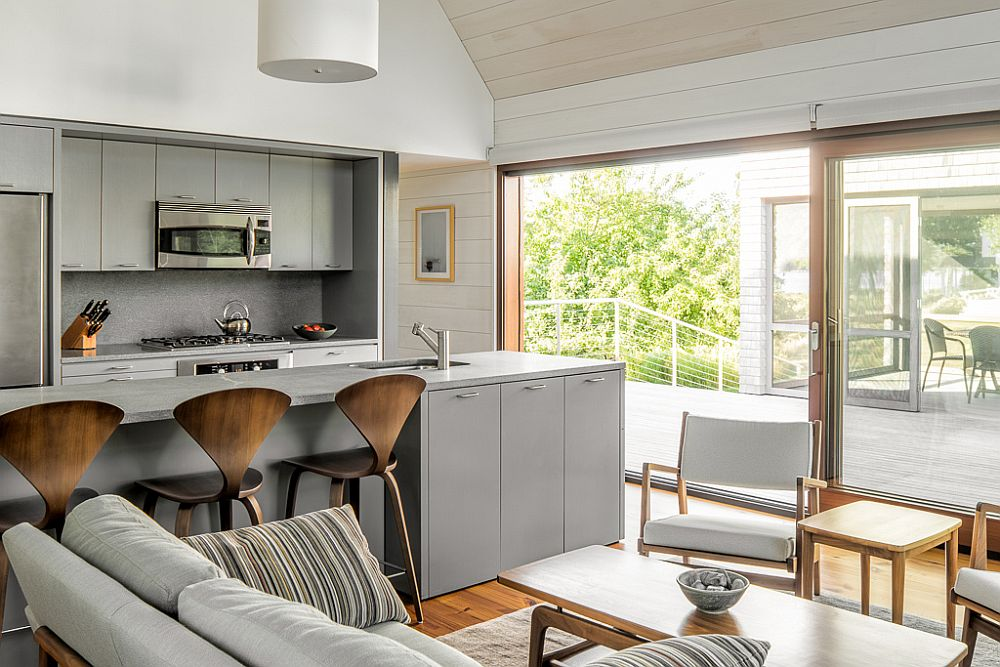Modern kitchen in gray and white