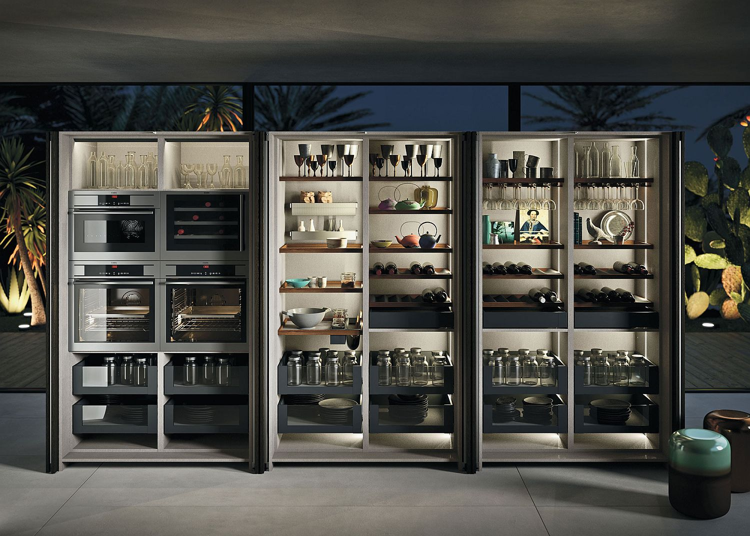 Modular glass door kitchen cabinets with beautiful LED strip lighting