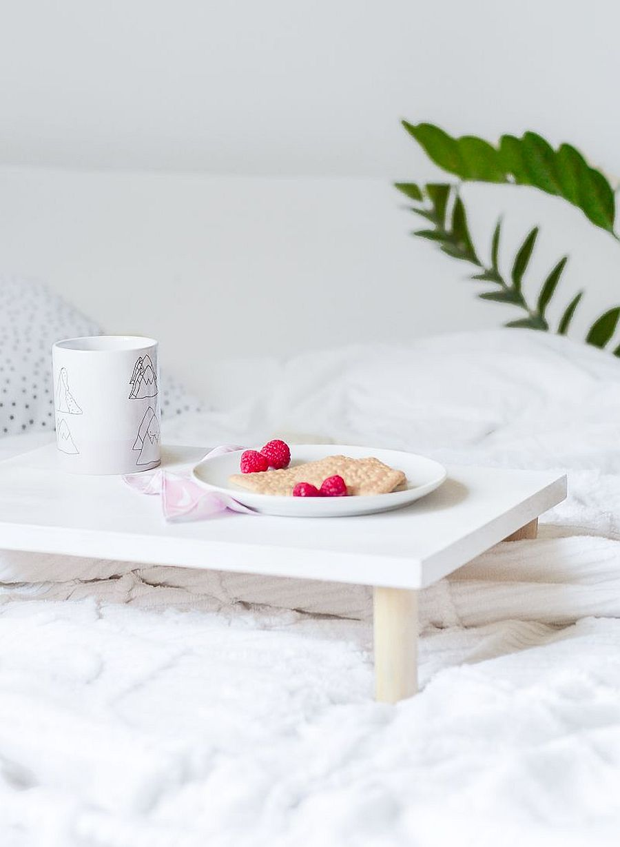 Multifunctional wooden breakfast tray can aslo be used as a plant stand