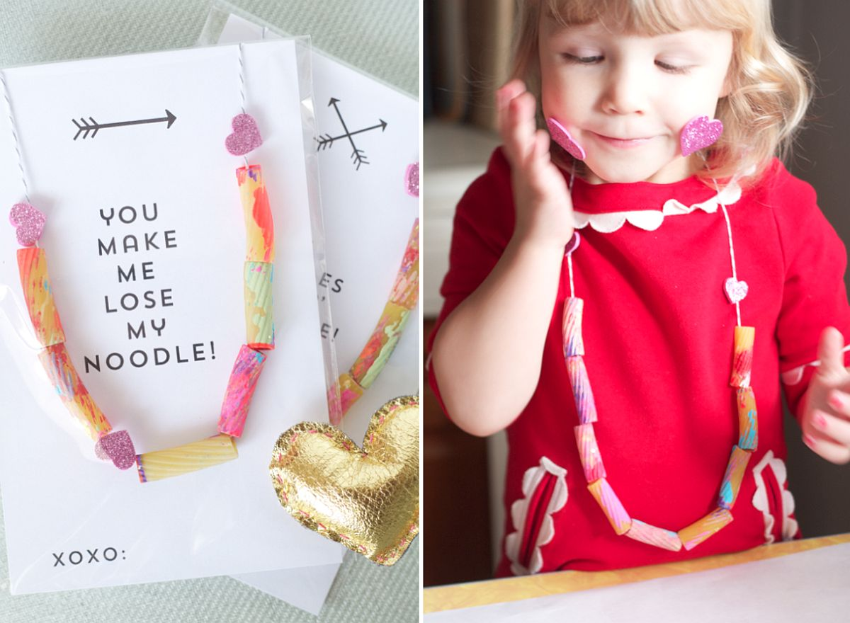 Noodle Necklace Valentine's Day Card
