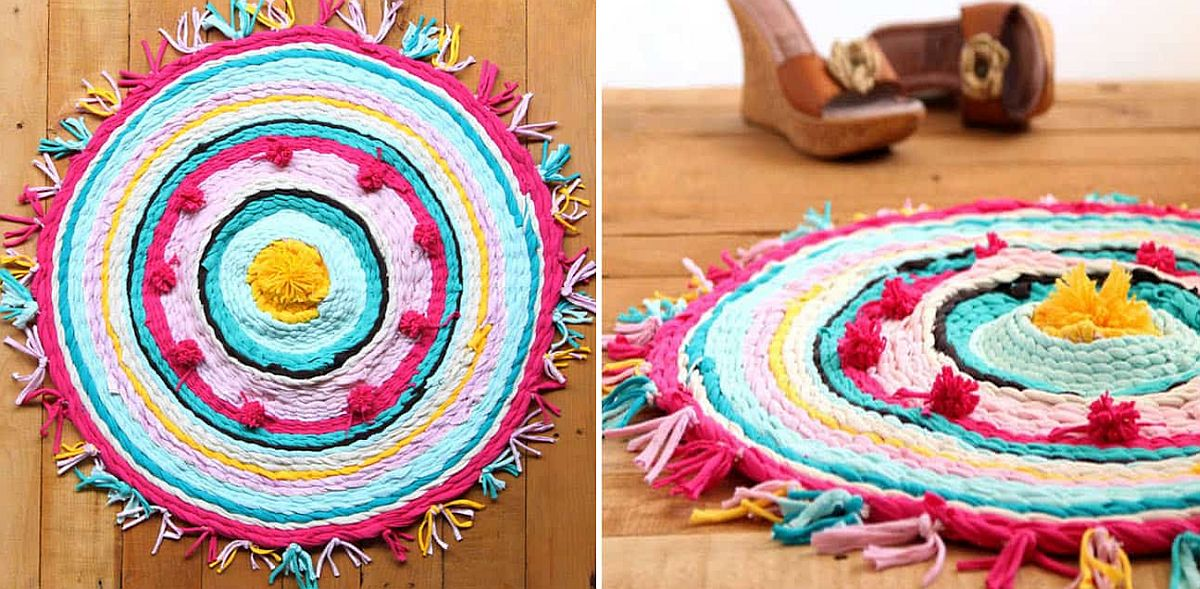Old t-shirts turned into a vivacious DIY rug