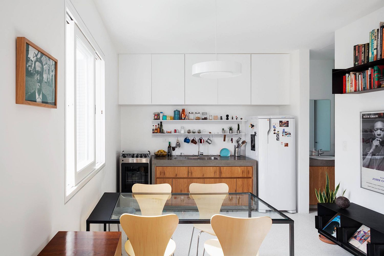 Open plan living and kitchen of the small Brazilian apartment