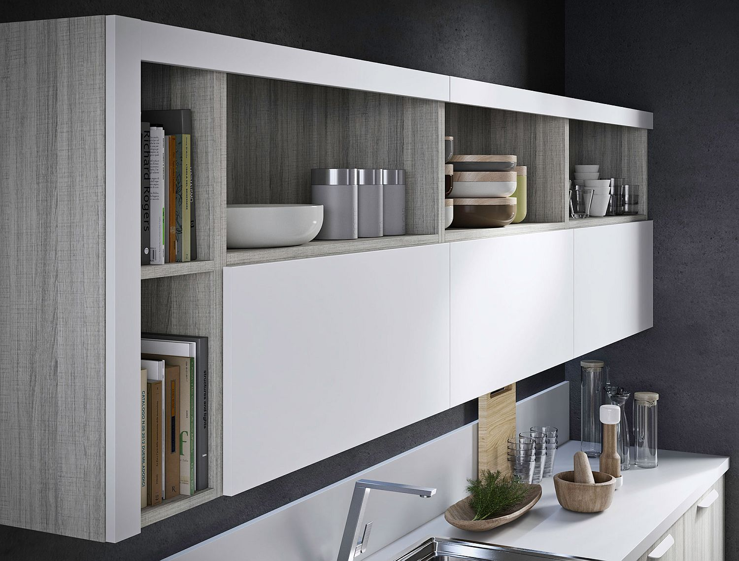 Open shelving along with closed cabinets of the Fun kitchen