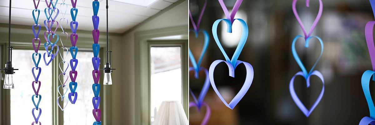 Paper Heart Garland in Various shades of blue and purple