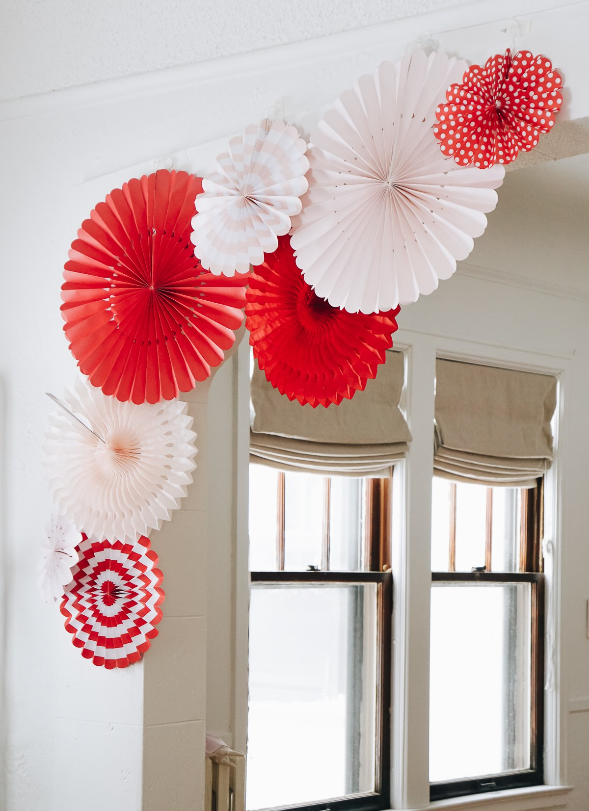 Paper party fan Valentine's Day decor