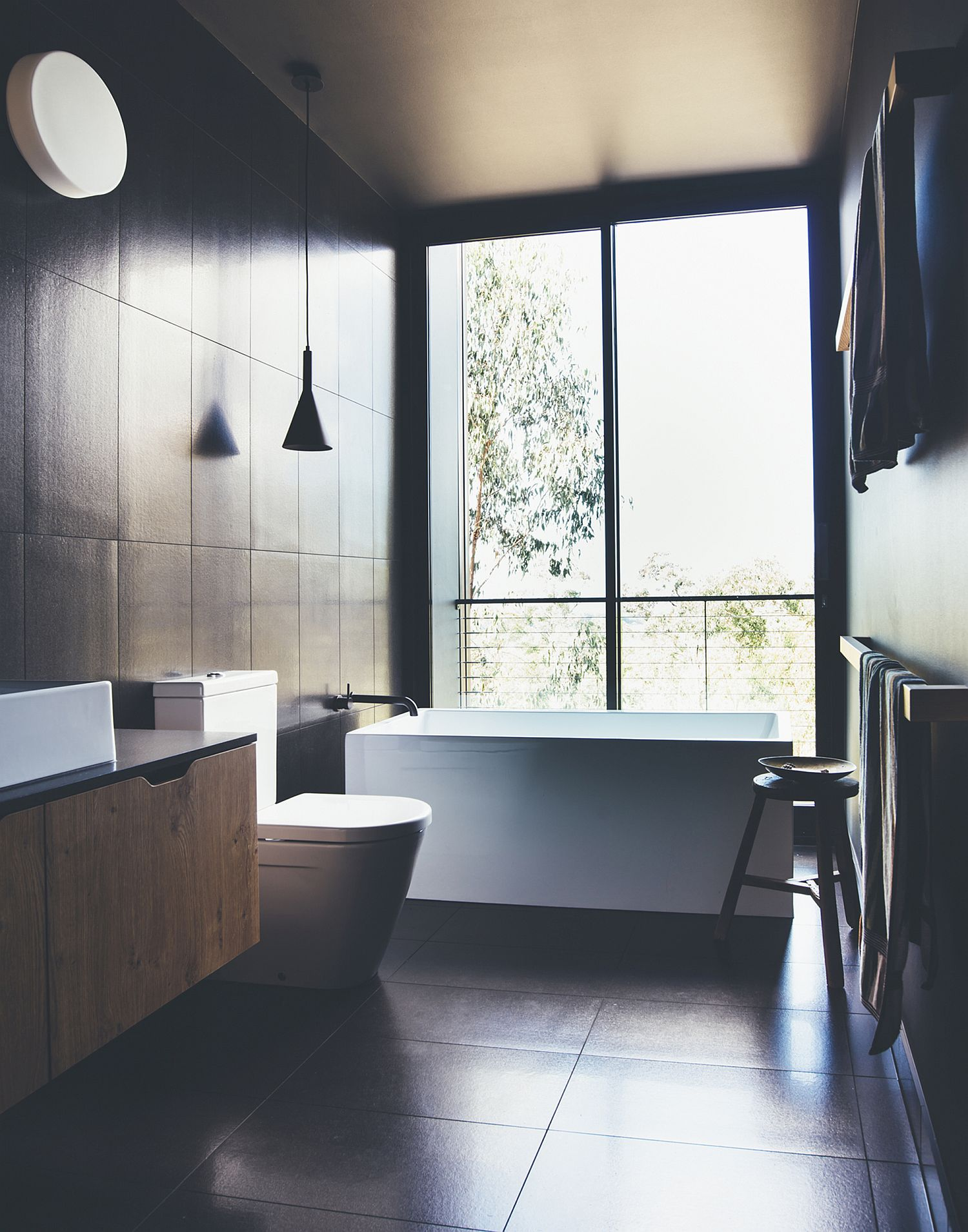 Polished and spa-styled bathroom in black