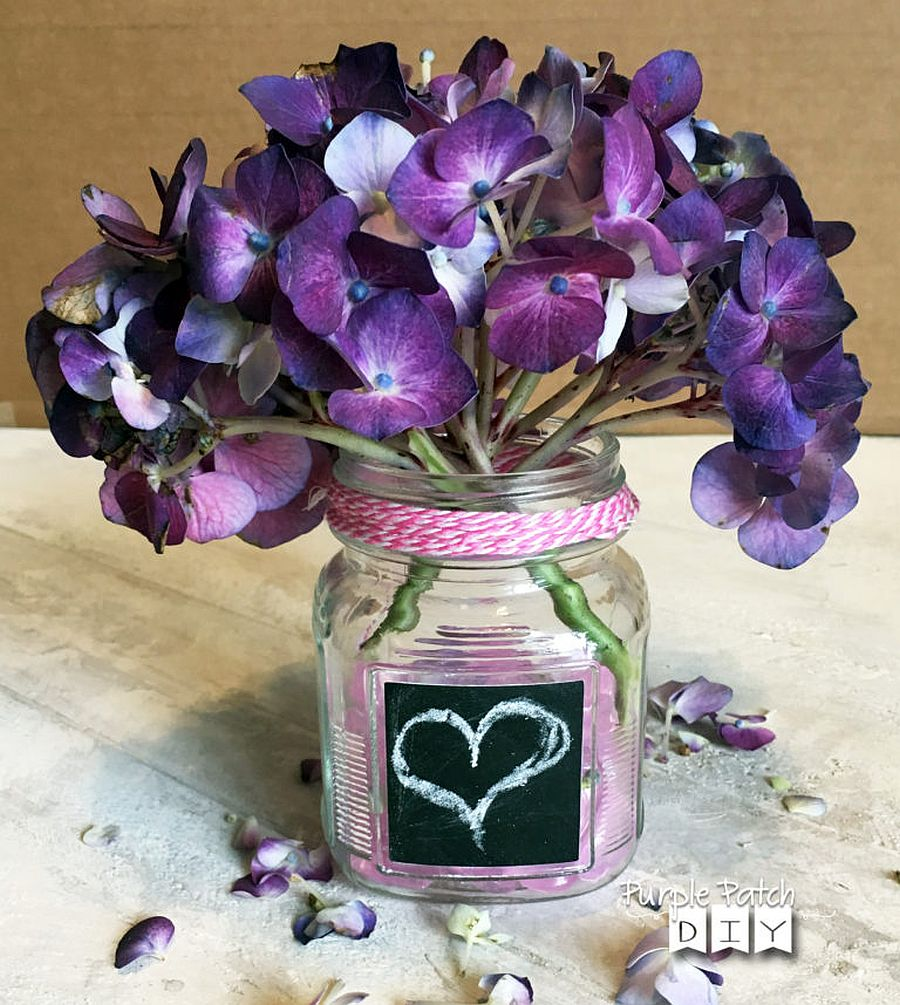 Repurposed Valentine's Day Flowers bring purple brilliance to the table