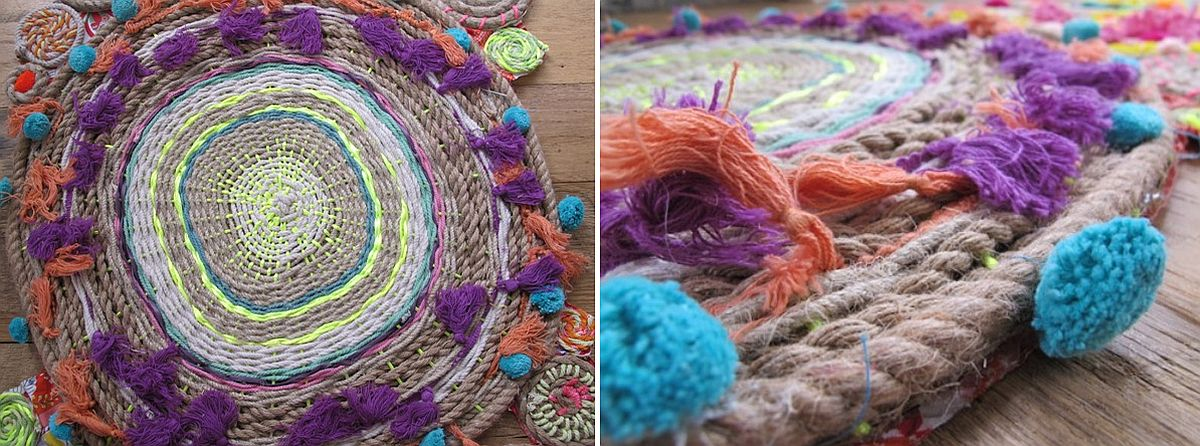 Rope swirl tapestry steals teh show with color and creativity