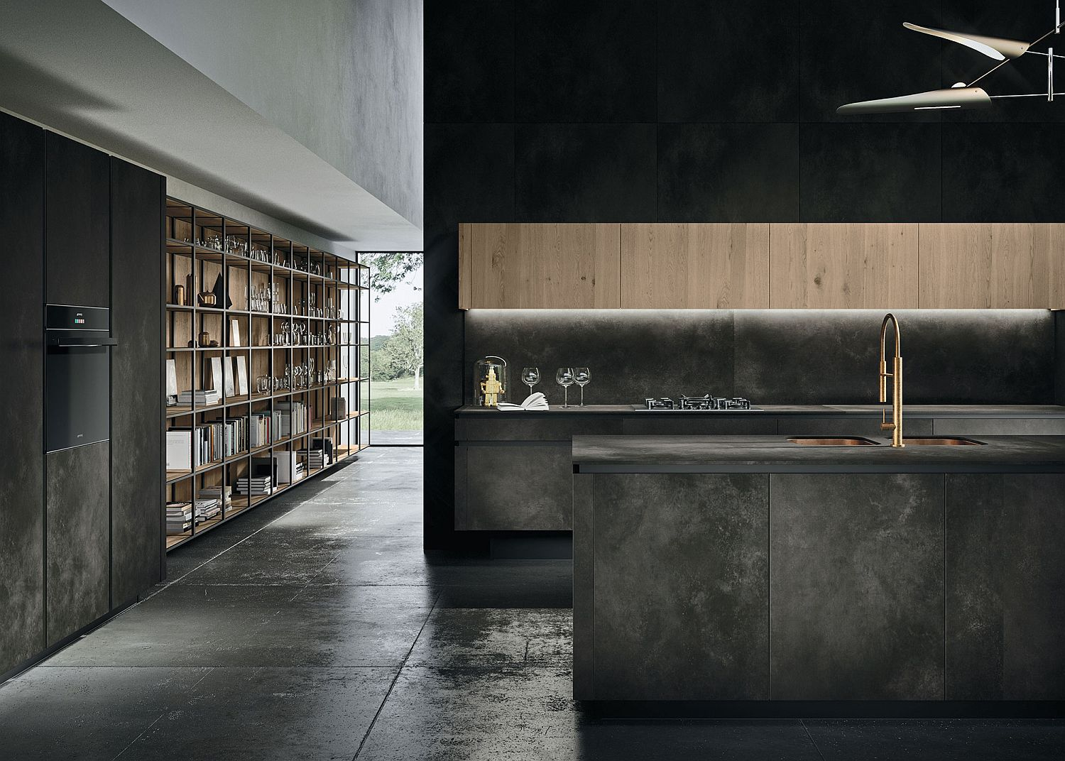 Slim and well-lit kitchen shelves with minimal appeal