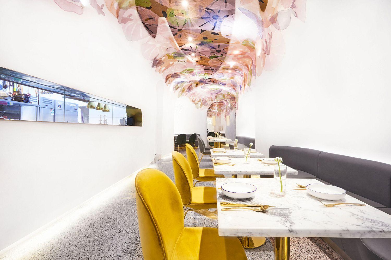 Stunning and white interior of BLUFISH Restaurant in Beijing, China