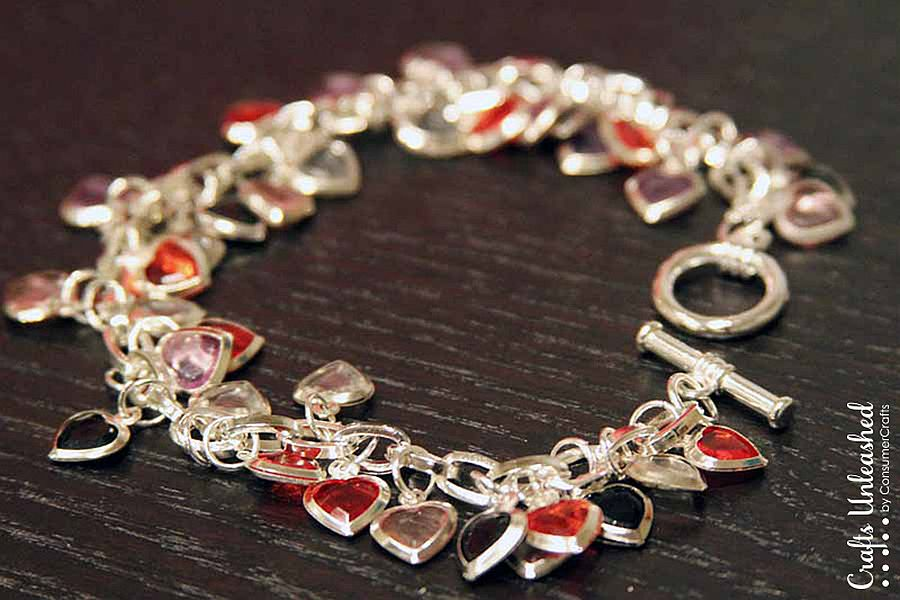 Super easy heart charm bracelet full of color