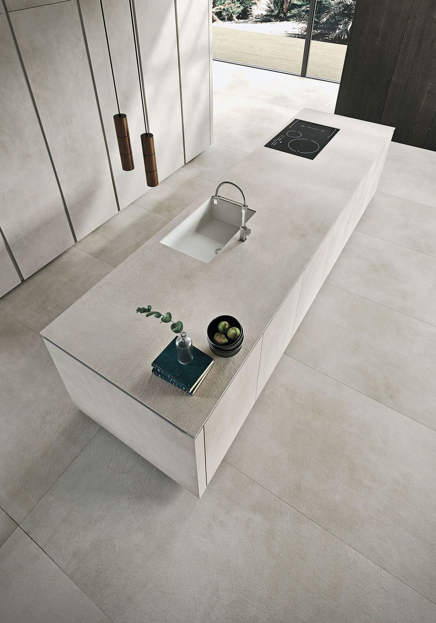 Textured finish of the kitchen island sets it apart visually