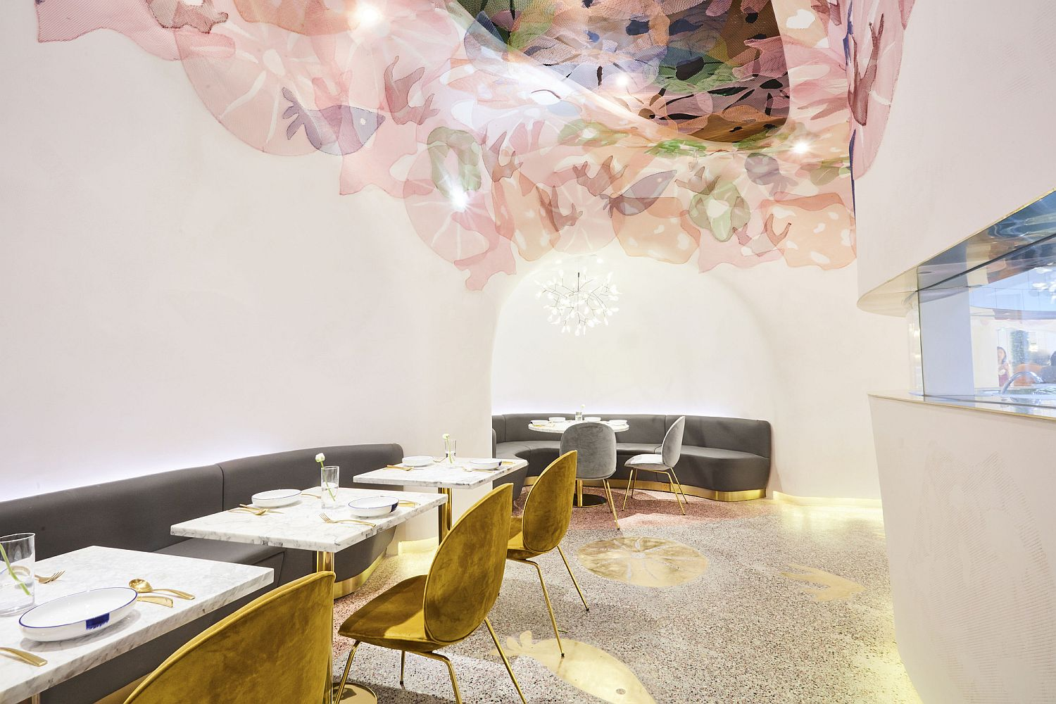 Touch of gold brings brightness to the ocean themed restaurant