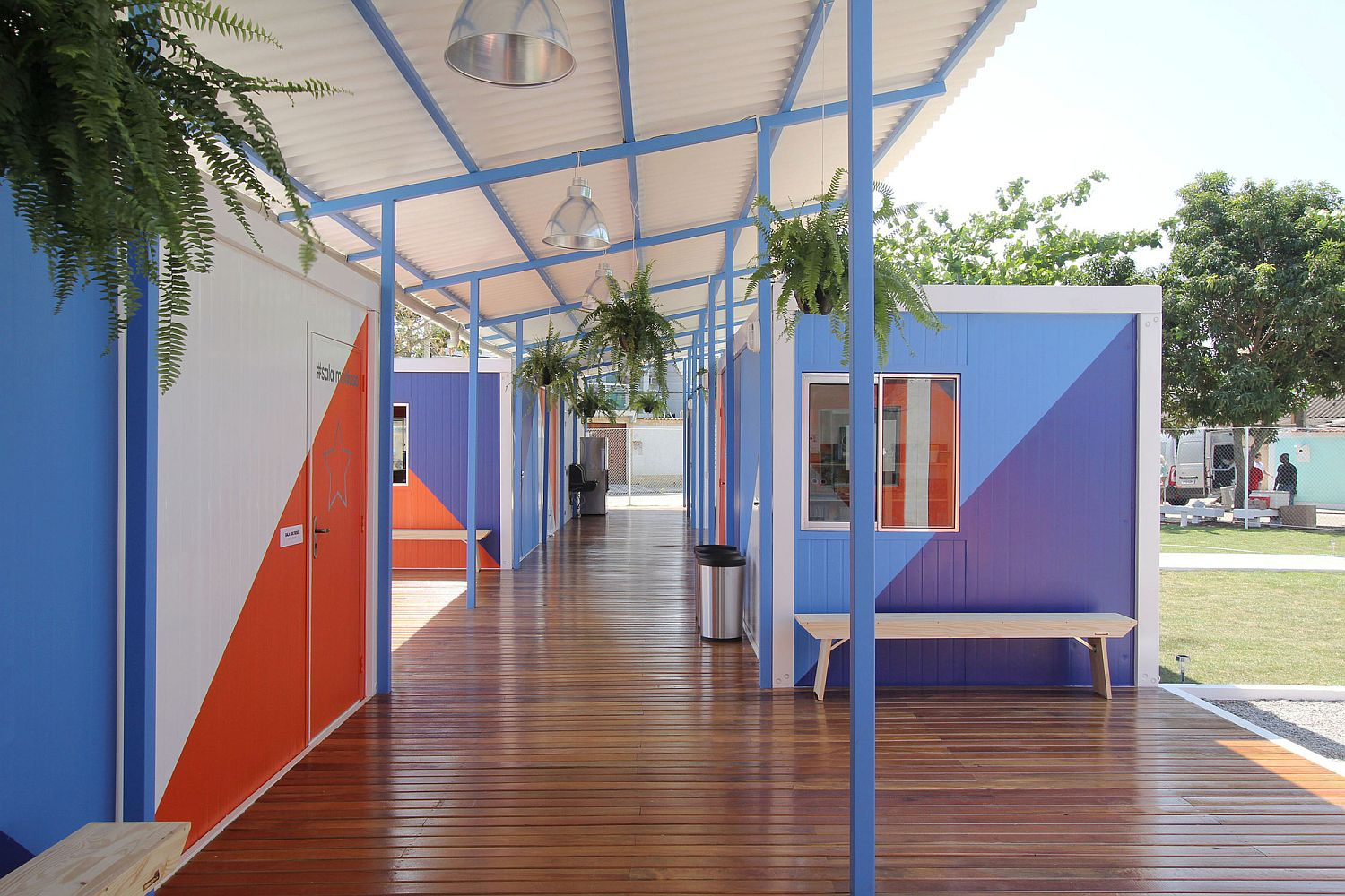 Unique and colorful interior of the social center with fiber-cement roof