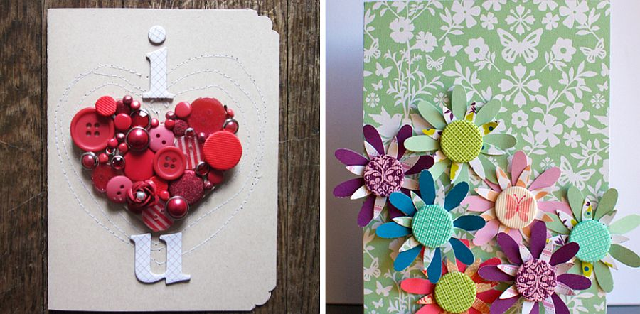 Using buttons to craft a delightful Valentine's Day Card