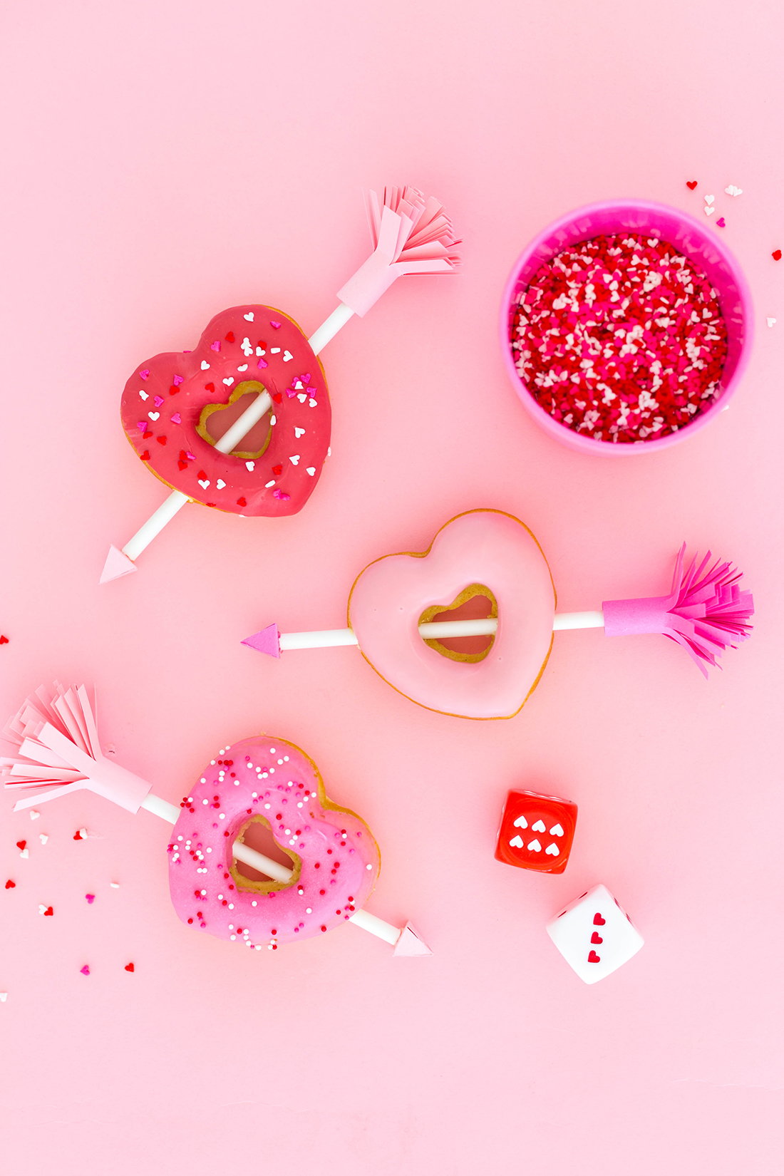 Valentine donuts with paper arrows