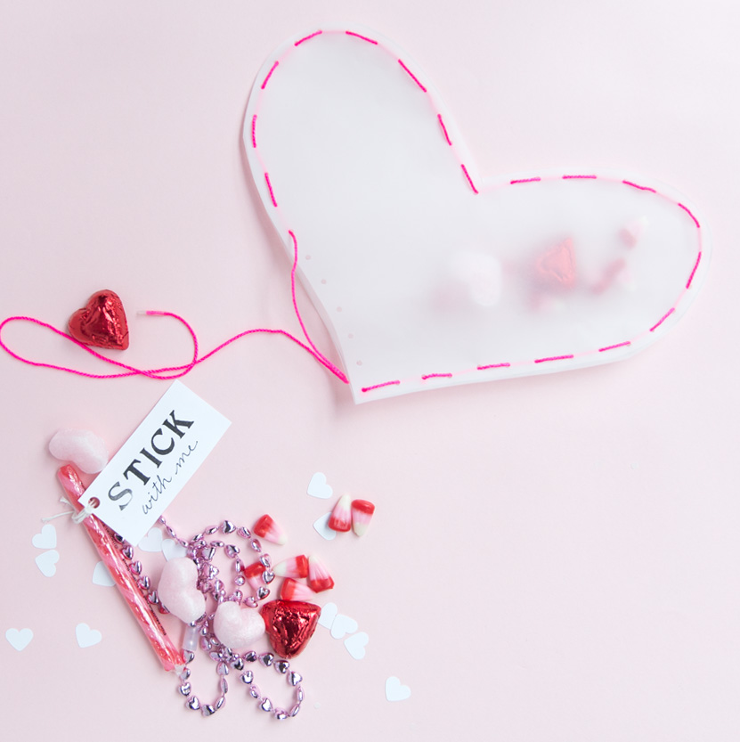 Vellum heart pouches for Valentine's Day
