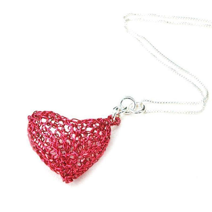 Wire crochet volume heart pendant DIY