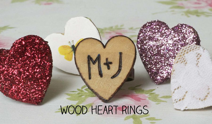 Woodburned heart ring DIY
