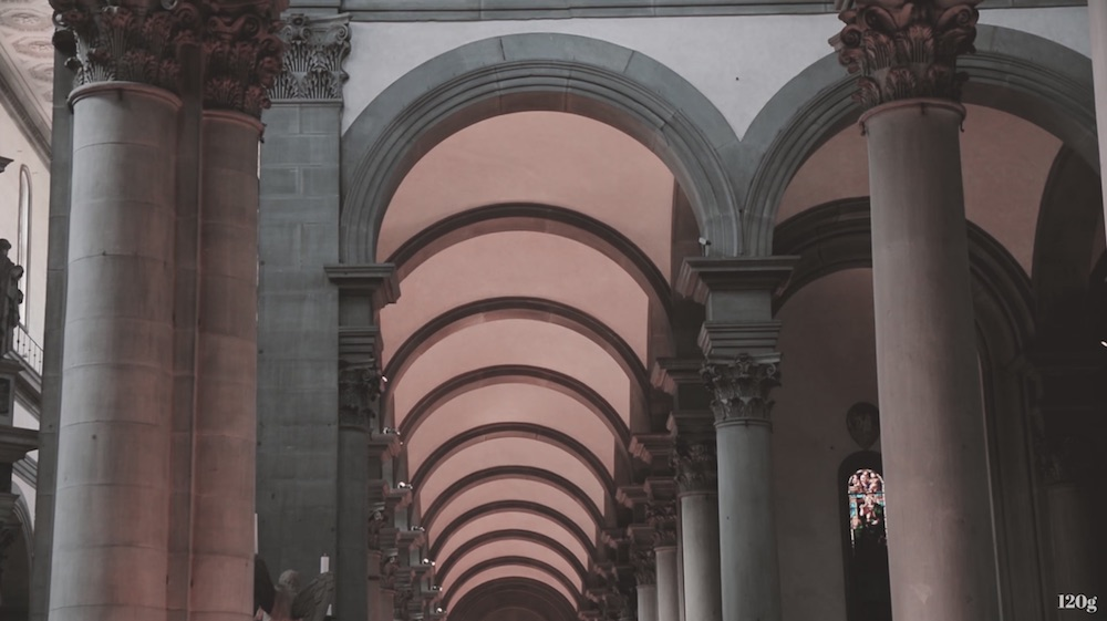 Arches and pillars create a picture of Tuscan architecture