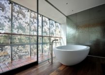 Awesome-contemporary-bathroom-with-metallic-tiled-backdrop-217x155