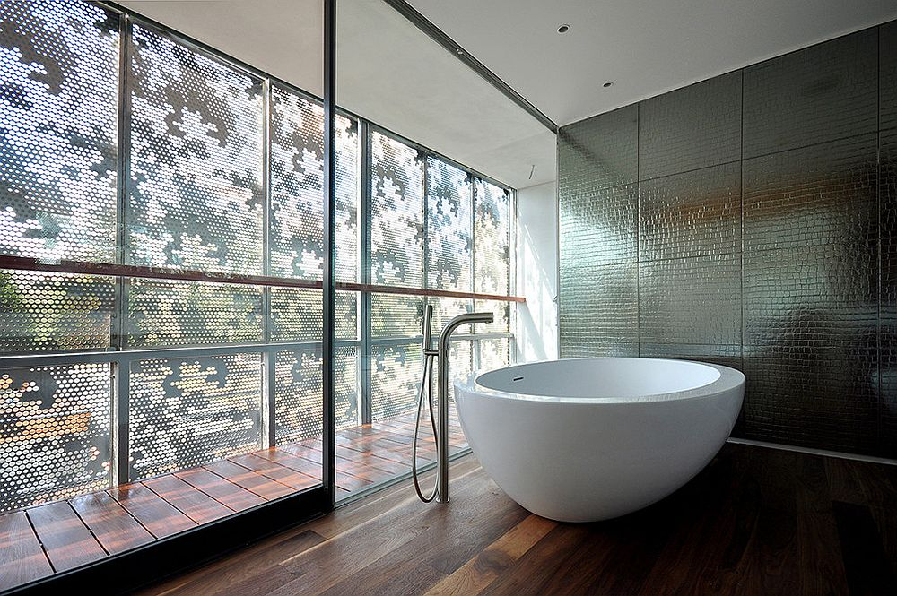 Awesome contemporary bathroom with metallic tiled backdrop