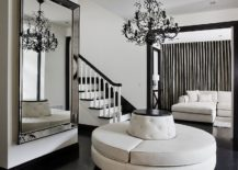 Black-and-white-contemporary-entry-with-a-giant-mirror-217x155