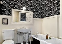 Black-and-white-modern-bathroom-with-a-bathtub-and-chandelier-in-black-217x155