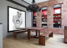 Brick-wall-dining-room-with-wooden-table-and-black-chandelier-217x155