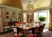 Ceiling-covered-in-gold-in-the-eye-catching-dining-room-217x155