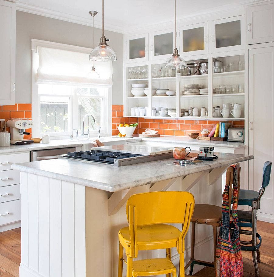 Cheerful modern kitchen in white with a smart tiled, orange backsplash