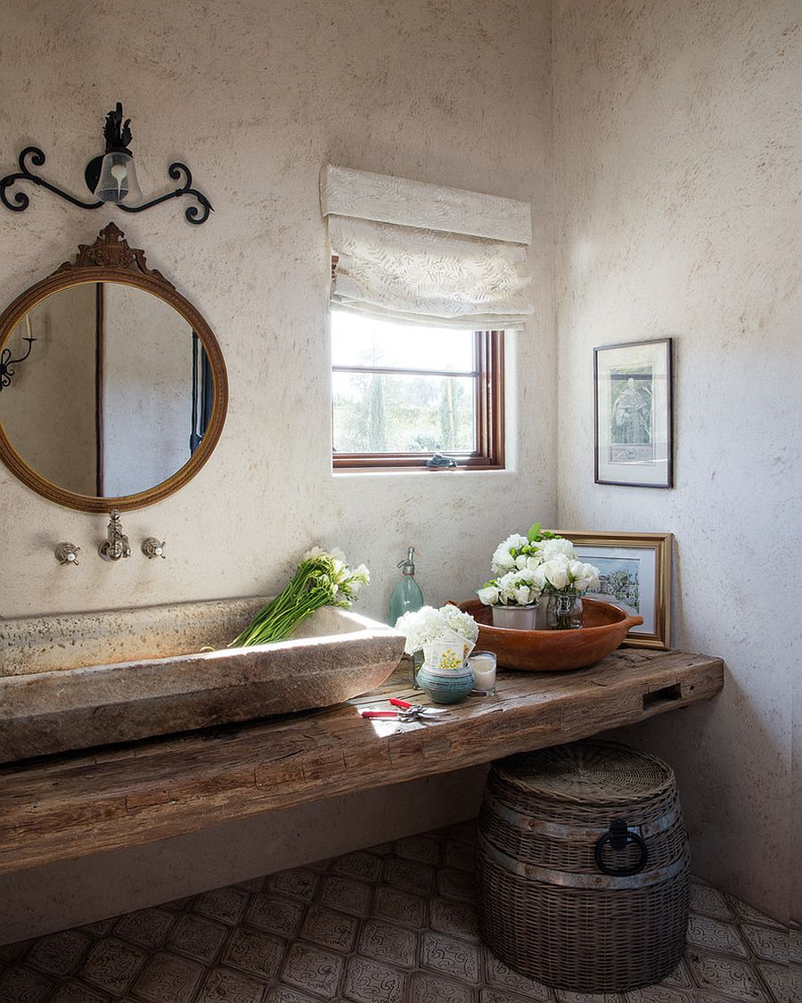 Combining raw natural textures and pattern inside the Mediterranean powder room