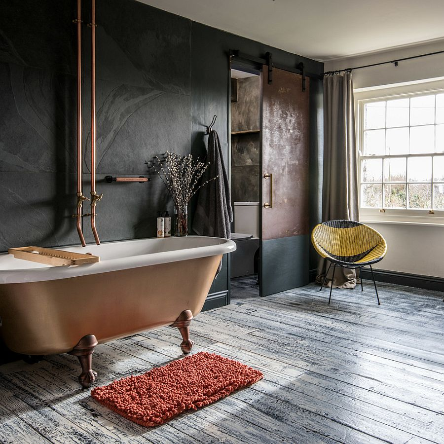 Contemporary-bathroom-in-white-and-gray-with-a-stunning-copper-bathtub