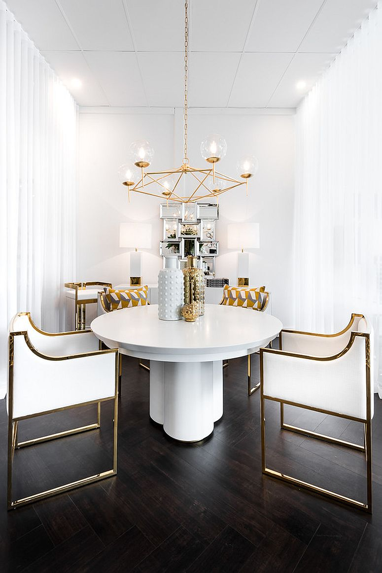 Contemporary-dining-room-in-white-and-gold