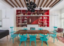 Creative-red-blue-and-white-dining-room-with-a-dark-chandelier-217x155